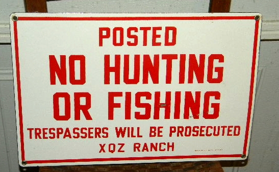 $OLD Posted No Hunting Fishing XQZ Ranch Porcelain Sign