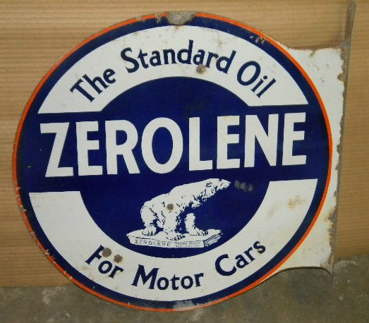 $OLD Standard Zerolen DSP Porcelain Flange Sign ORIGINAL