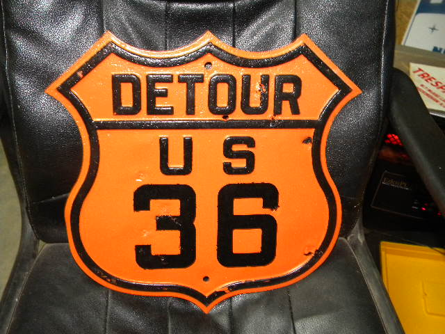 $OLD Partially Embossed US 36 Detour Shield Sign