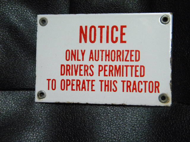 $OLD Notice Operate Tractor Small Porcelain Sign