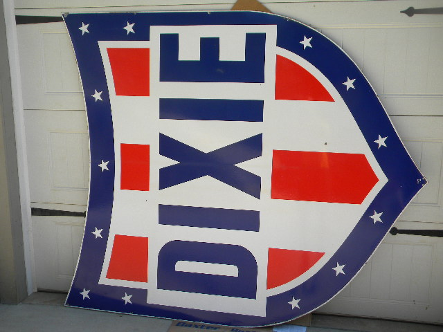 $OLD 72x82 DSP Dixie Gasoline Shield w/ Pole/Frame