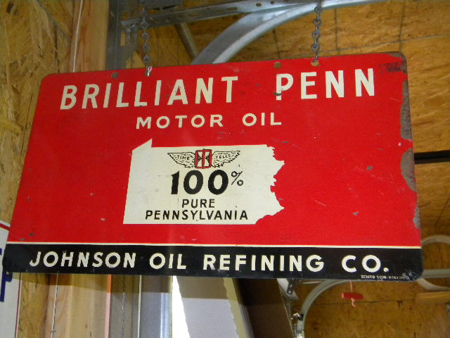 $OLD Johnson Brilliant Penn DST DBL Sided Tin Sign w/ Logo
