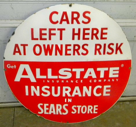 $OLD Allstate w/ Sears 30 Inch SSP Sign