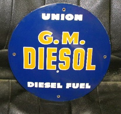$OLD Union 76 GM Diesel PPP Porcelain Pump Plate Sign