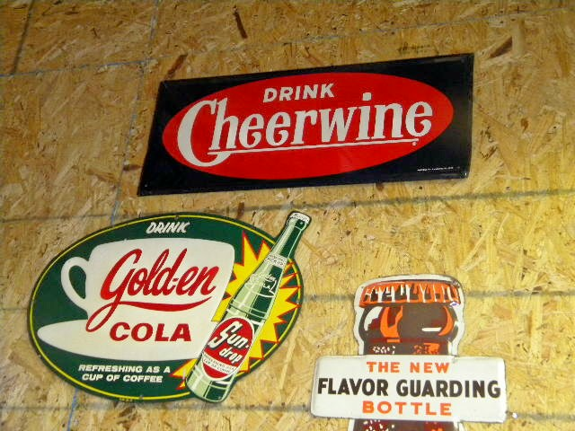 $OLDGolden Cola Emb Tin Sign & $OLD Cheerwine SST SIgn