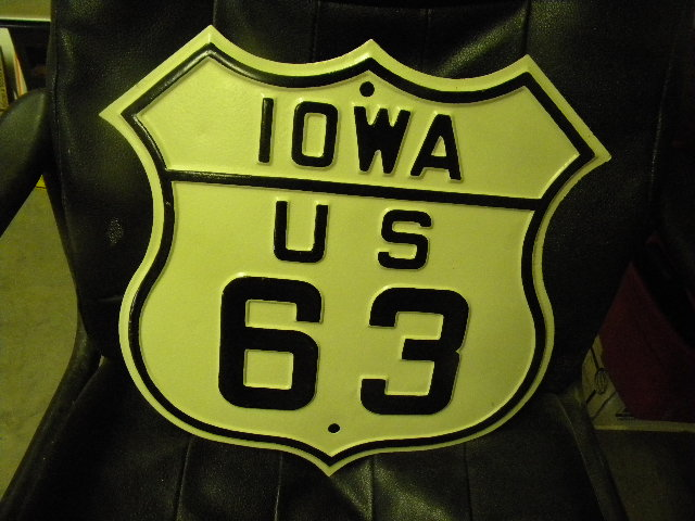 $OLD Iowa US 63 Fully Embossed Shield