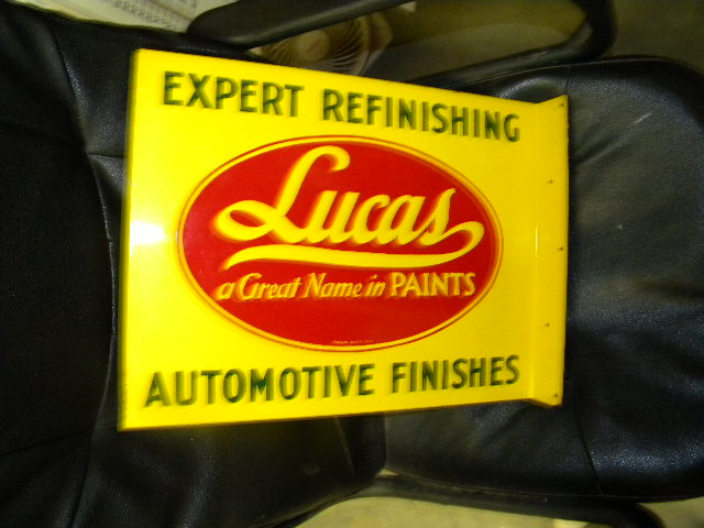 $OLD Lucas Auto Paints DST Flange Sign