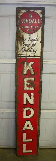 $OLD Rough Kendall Vertical Emb Tin Sign
