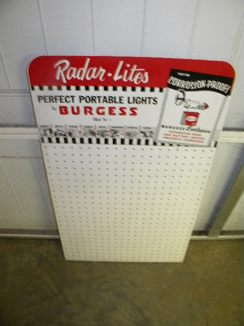 $OLD Burgess Batteries Metal Rack Type Sign