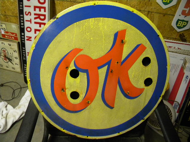 $OLD OK 24 Inch Porcelain Neon Skin Sign