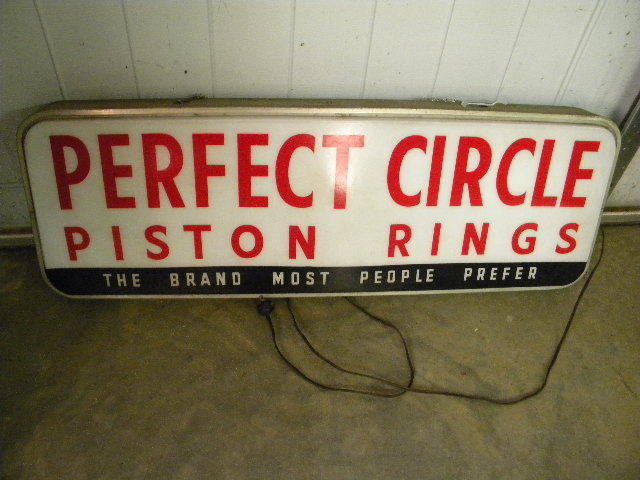 $OLD Perfect Circle Piston Rings Lighted Sign