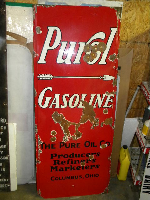 $OLD HTF PUROL (PURE) Gasoline Oils SSP Lighthouse Sign