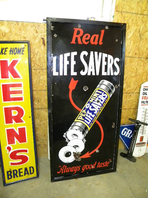 $OLD Life Savers Lighthouse Porcelain Sign