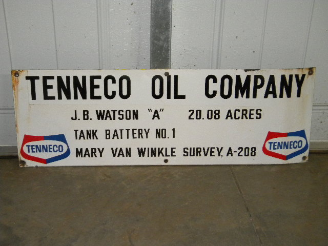 $OLD Tenneco Porcelain Field Lease Sign