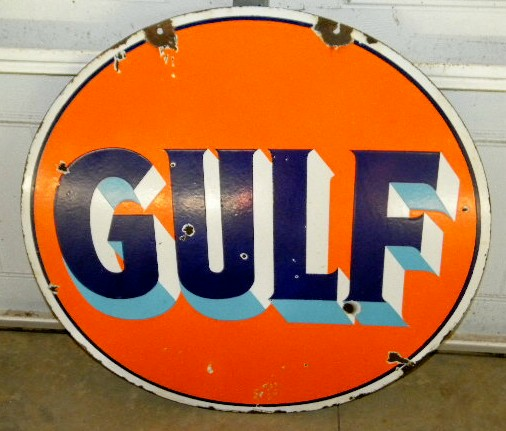 $OLD 30 Inch Gulf DSP Porcelain Sign