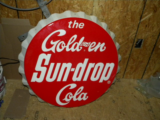 $OLD SunDrop Bottle Cap Sign Golden Girl Cola