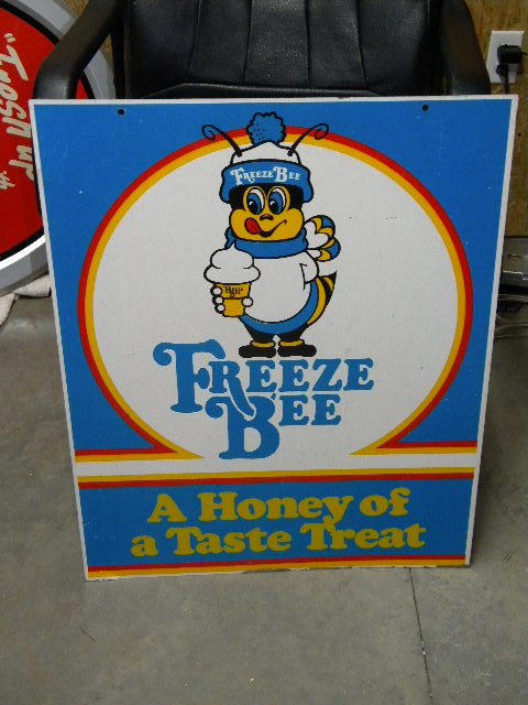$OLD Freeze Bee DBL Sided Tin Sign w/ graphics