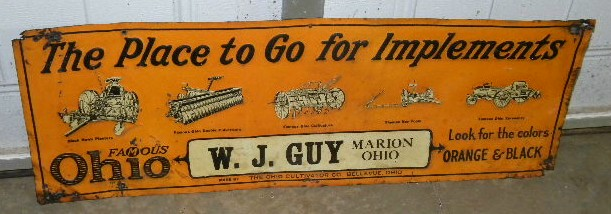 $OLD Ohio Farm Implements Embossed Tin Graphic Sign Early