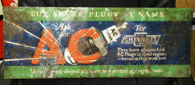 "$OLD AC Delco Spark Plugs ""Chevrolet"" Tin Sign w/ graphics"