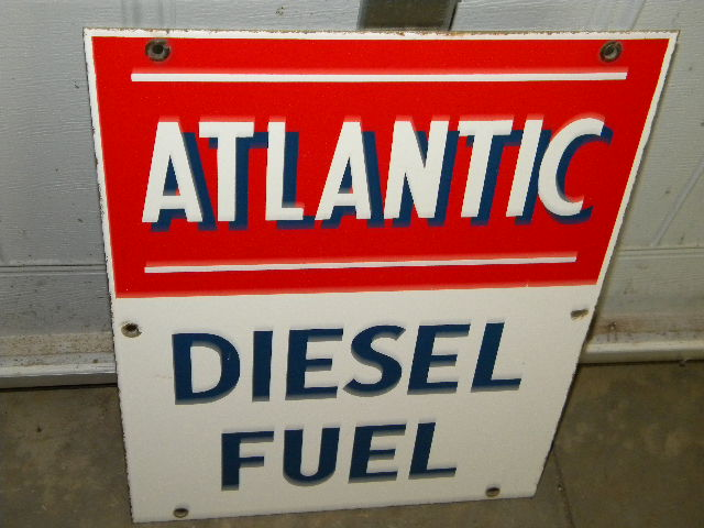 $OLD Atlantic PPP Diesel Porcelain Gas Pump Sign