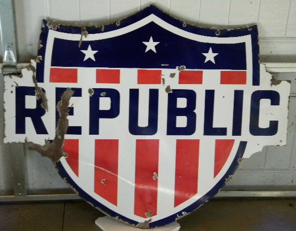 $OLD Republic Diecut DSP Porcelain Sign