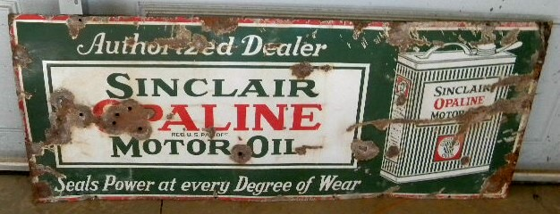 $OLD Sinclair Opaline Porcelain Sign
