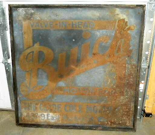 $OLD Buick Sand Painted Tin w/ Wood Frame Eearly Dealer Sign