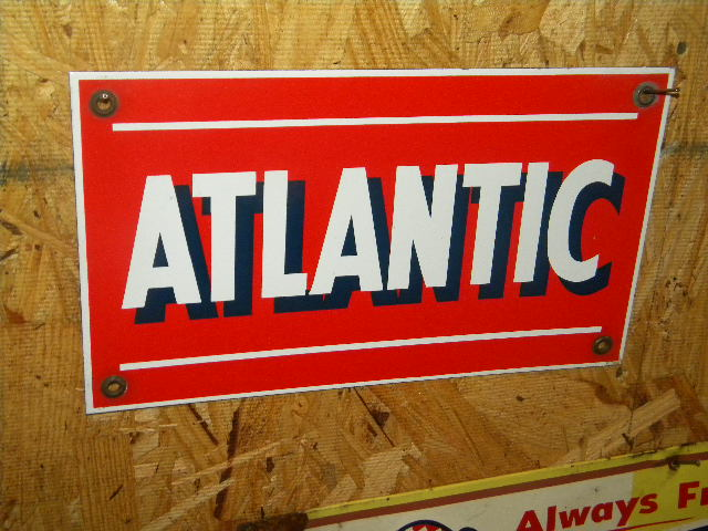 $OLD Atlantic Porcelain Gas Pump Sign