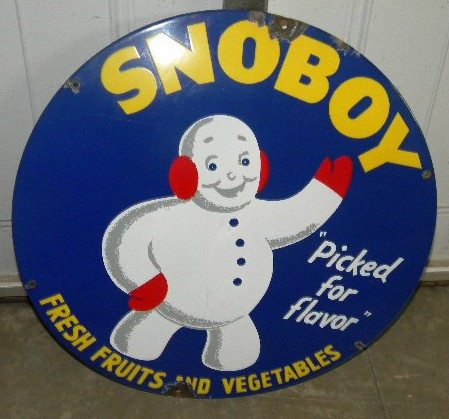 $OLD Snoboy Porcelain Sign w/ Graphics
