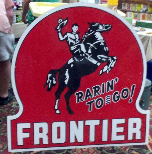 $OLD Frontier 48 Inch Double Sided Porcelain Keyhole Sign
