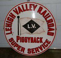 $OLD Lehigh Valley Railroad PIggyback Super Serivce Porcelain Sign