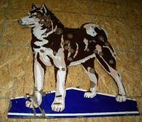 $OLD Husky Gasoline Porcelain Diecut Dog Sign