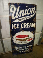 $OLD Union Ice Cream Porcelain Lighthouse Road Sign