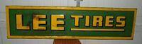 $275 Lee Tires Embossed Tin Sign w/ Wood frame