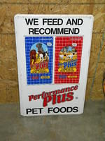 $OLD Performance Plus Pet Foods Tin Sign w/ Hunting Dogs Hounds