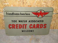$OLD Flying A Tidewater DBL Sided Tin Credit Cards Sign
