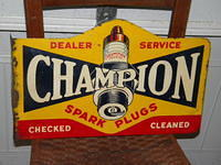 $OLD Champion Tin Flange Sign