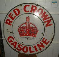 $OLD Single Sided Porcelain Red Crown Gasoline Sign