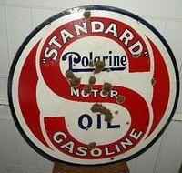 Standard Polarine Motor Oils Double Sided Porcelain Sign $OLD