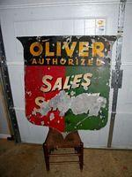 $OLD Oliver Tractors Sales & Service Double Sided Tin Sign