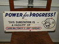 $OLD Carolina Power & Light Porcelain sign w/ Reddi Kilowatt Graphics