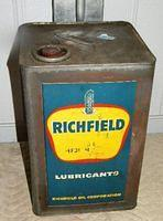 $OLD Richfield 5 Gallong Square Oil Can w/ Eagle Graphics