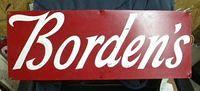 $OLD Borden's Dairy Embossed Tin/Aluminum Sign