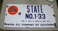 $OLD  Union 76 Field Lease Single Sided Porcelain Sign (earlier logo)