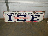 $OLD Central Power and Light ICE SSP Porcelain Sign