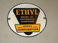$OLD Ethyl Porcelain Gas Pump Sign Original 7 Inch