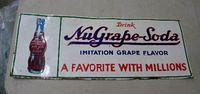 $OLD NuGrape Embossed Tin Sign w/ Bottle