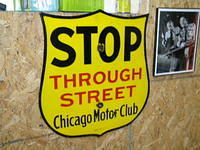 $OLD Chicago Motor Club Porcelain Shield STOP THROUGH STREET Sign