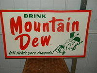 $OLD  1965 Drink Mountain Dew Tin Sign w/ Hillbilly ORIGINAL