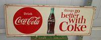 $OLD Coca Cola Tin Sign SST w/ Bottle & Disc